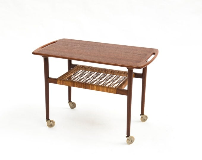 Danish Mid-Century Modern Teak serving cart on wheels
