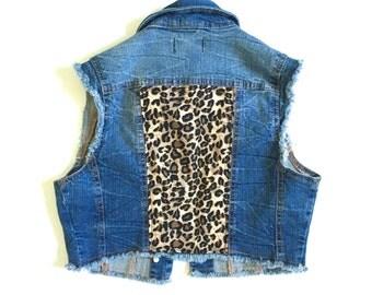 Women's Leopard Cropped Denim Vest - vintage - leopard print fabric - women's denim vest - jean vest - Size XS