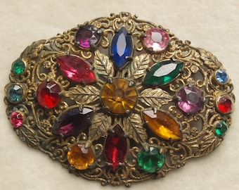 Huge Brass and Glass colourful brooch
