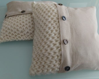 "Cushion covers ""Polaris"" 42 x 42 cm, wool and linen collection ""for the big"""