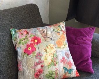 Decorative cushion cover floral print (without pillow) without zipper