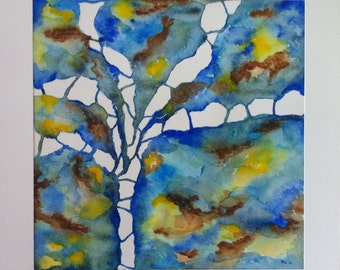 Abstract Watercolor, Tree Art Painting, Fine Art Watercolor, Original Art, Abstract Blue Art, Large Painting, Colorful Watercolor, Special Gift