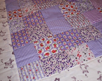 Purple Butterfly Baby Patchwork Quilt