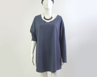 dark blue melange oversized longsleeve organic cotton, size S, organic cotton, round neck, jersey, easy, casual, casual,