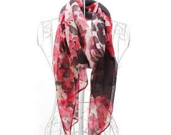 Luxanne Pascal All Season Infinity Cowl(Red & Rose)