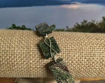 Earth-tone gemstone bangle bracelet