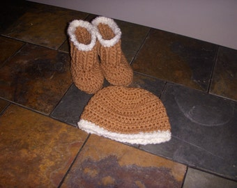 Hand Made Booties & Hat