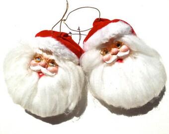 20% OFF *** VINTAGE: 2 Santa Ornaments - Christmas Ornaments - Fabric Ornaments - (15-D2-00006202)