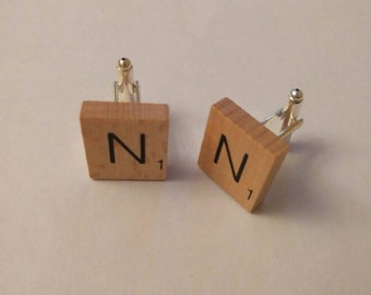 Personalised wooden scrabble tile cufflinks handmade