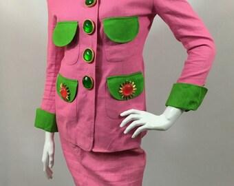 Gemma Kahng Vintage Circa 1990 Linen Pink Green Skirt Suit Gripoix Buttons UK 10 US 6