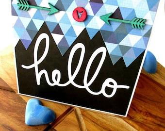 Handmade Card - Hello, Geo - Blue, Black, Birthday, Anniversary, Occasion, Thankyou, Get Well, Greeting