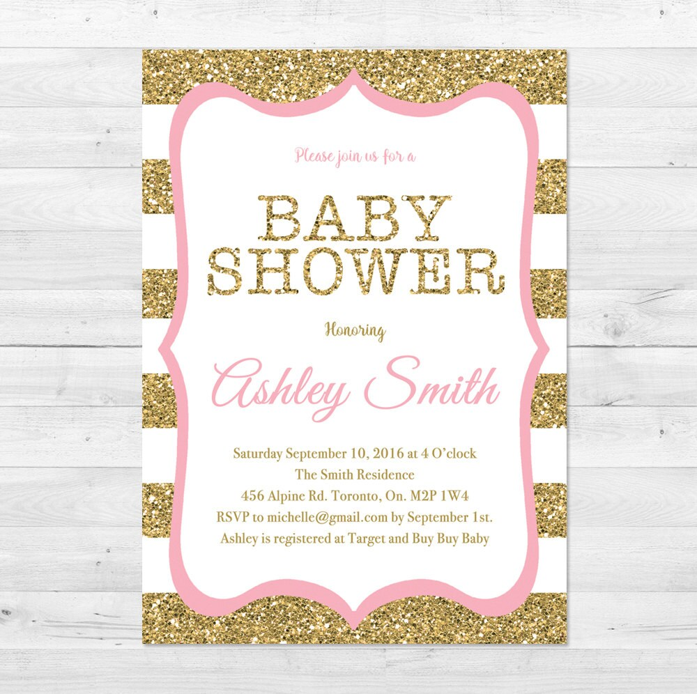 baby shower invitation girl pink and gold baby shower