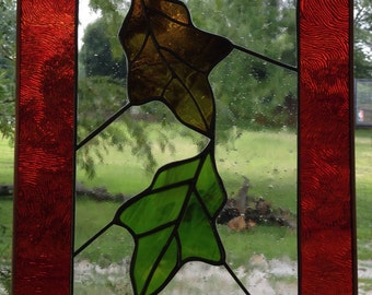 Fall, Autumn, Stained Glass Falling Leaves panel, suncatcher, window hanging