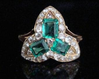 Victorian 18ct emerald and diamond ring