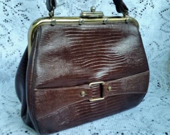Gorgeous 1950's Designer Authentic Brown Lizard Handbag Purse W/ Brass Trim
