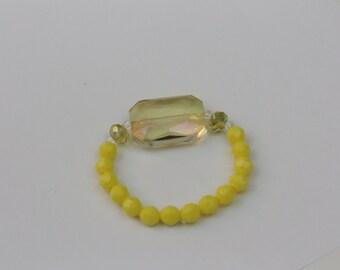 happiness yellow beaded bracelet  #39