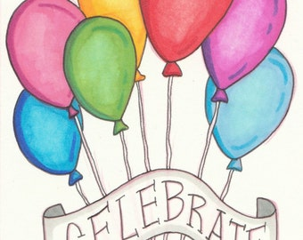 Celebrate Balloons Birthday Blank Greeting Card