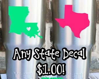 Flash Sale! State Monogram Decal, Custom Home State Decal, One Dollar Decal, State Heart Decal, Yeti State Decal, Monogram State Decal