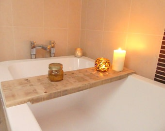 Solid oak bath bench/caddy/table