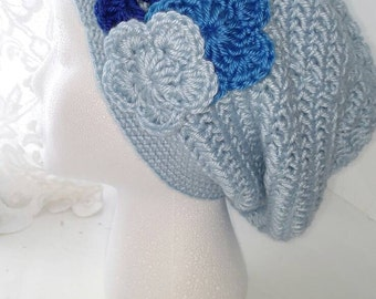 Light blue slouchy beanie crocheted with flowers women's slouchy beanie, women's slouchy hat handmade