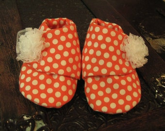 Pink with White Polka Dot Baby Booties