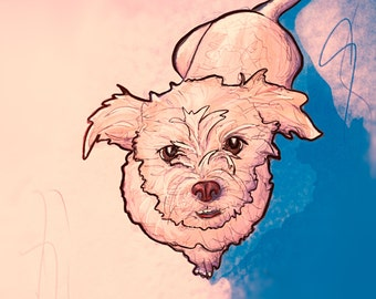 Custom Pet Portrait, a Comic Book Illustration (from a cell phone picture)
