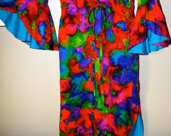 Vintage 60's Hawaiian Psychedelic  GUADALUPE Dress XS Made in Hawaii