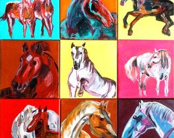 Collage horses, print on aluminium