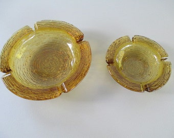 2 Gold Color Ashtrays from the Past