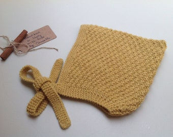 READY TO SHIP - Baby Pixie Bonnet hat 100% cashmere mustard color, hand knit,  size 18-24 months