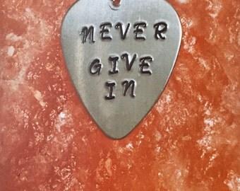 Black Veil Brides Never Give In Handstamped Guitar Pick Necklace