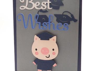 Graduation Card, Blank card, greeting card, Customize with graduates school colors, Graduate Pig