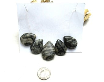 5 Pc Set Natural Picasso Marble Teardrop Focal Beads (B89j)