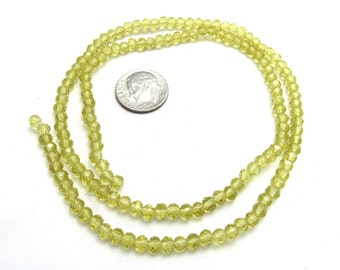 1 Strand Transparent 4mm Faceted Glass Rondelle Beads Lt Topaz (B96g1)