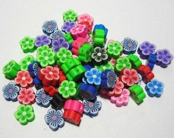 50 Handmade Polymer Clay Flower Beads 10mm (BR)