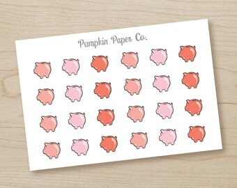 P186-Piggy Bank planner stickers, planner stickers, payday stickers, reminder stickers, money stickers, 24 stickers, PPC61