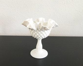 Vintage Milk Glass Pedestal Bowl