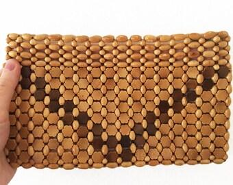 Vintage Wooden Bead Clutch