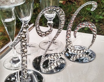 Table numbers set of 10 wedding silver Table Numbers Decor Rhinestone numbers WEDDING table numbers Rhinestone wedding Mirror Table Numbers