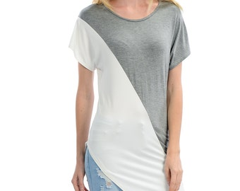 Gray and White Low Tail Tee