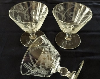 Three Crystal Sherbet Glasses