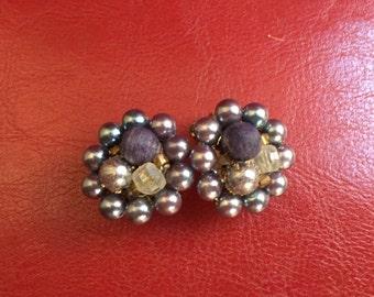 Vintage blue and purple bubble earrings