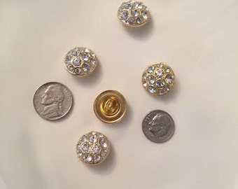 Round Gold Rhinestone Shank Button Set of 2