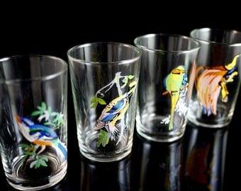 Set of 4 Vintage Colorful Exotic Bird Juice Glasses by Crystal Emporium Glassware