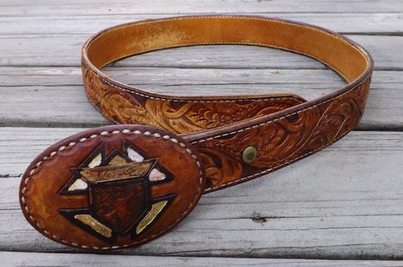 "Western Style Cowboy Belt, size 32-33, vintage 1970s, snake skin inlays, leather buckle, personalized ""JESSE"""