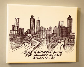Atlanta Skyline Personalized Wedding Anniversary Gift Guest Book Sketch Hand Lettered Gallery Wrapped Canvas Print