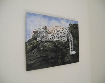 Baby Snow Leopard Original Acrylic Painting, baby animal art, wildlife art, Snow Leopard art, wildlife wall decor, cute animal wall decor