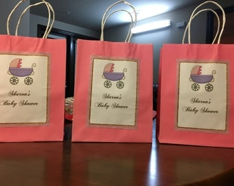 10 Personalized goody bags,Baby girl theme favor bags,custom treat bags with tags,Baby shower personalized bags