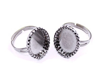 2 Silver Adjustable Oval Ring Base Blank Findings with 20x15mm Oval Pad Cameo Setting