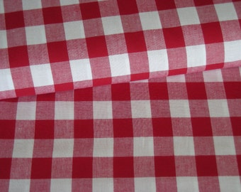 Vichy red white fabric checkered 20 mm